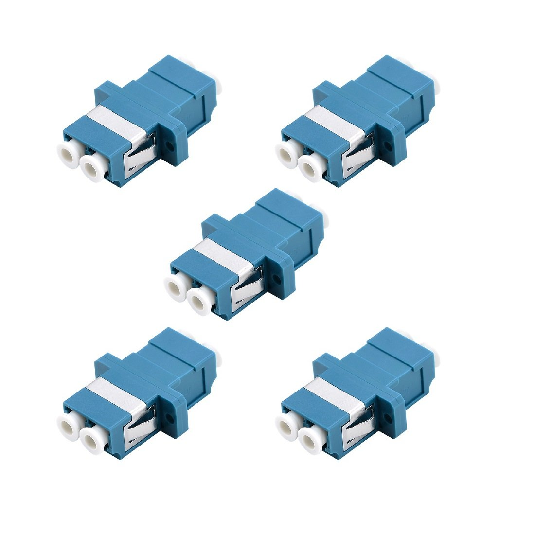 LC Fiber Optic Adapter - Comm Cable LC to LC Duplex Singlemode Coupler - 5 Pack - Blue by Comm Cable