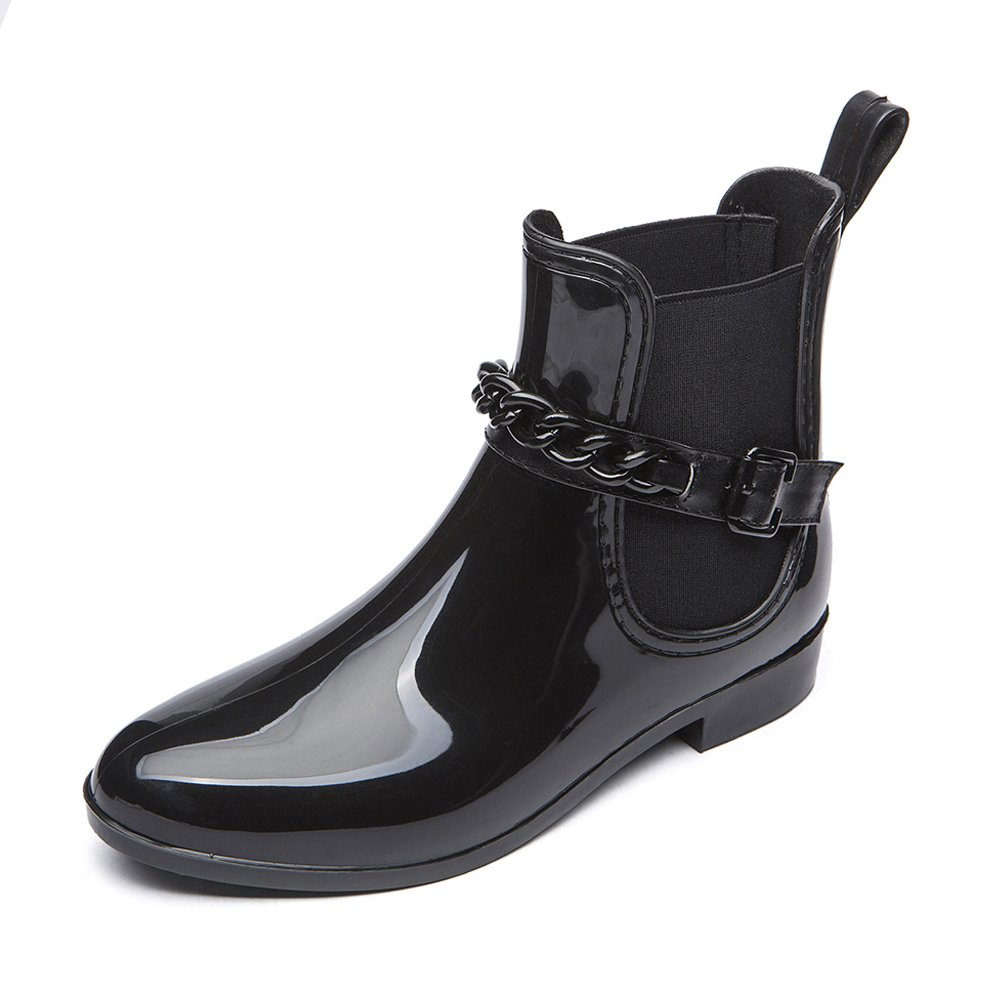 DKSUKO Women's Short Ankle Classical Rain Boots Waterproof Black Elastic Slip On Booties Rain Shoes (10 B(M) US, Type 2)