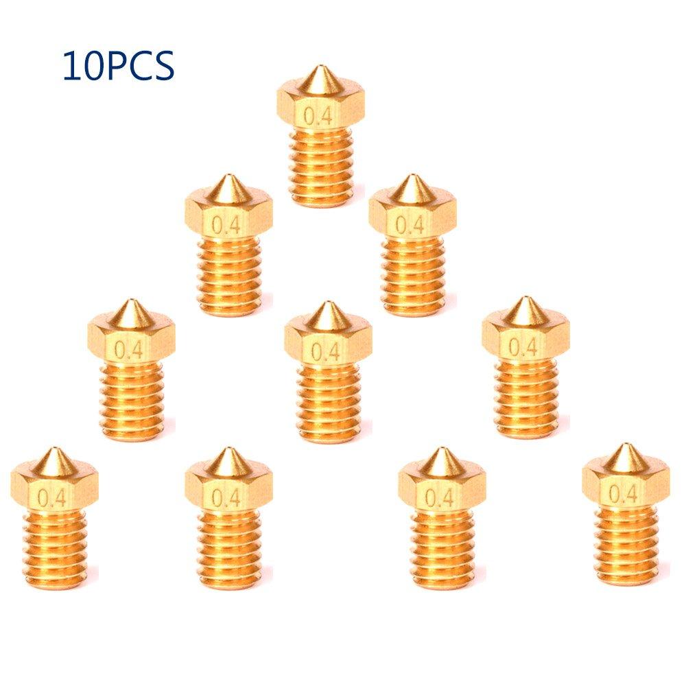 10pcs 3D Printer Copper Nozzle 0.4mm M6 threaded part extrusion MK8 1.75mm Filament Head V6 Brass Nozzles/… HE3D