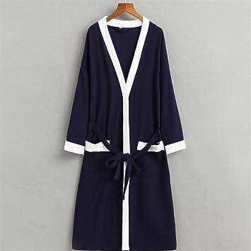 SUxian Gran Bata de Toalla de Sauna de Mangas largas de Pijamas de algodón para Hombres: Amazon.es: Hogar