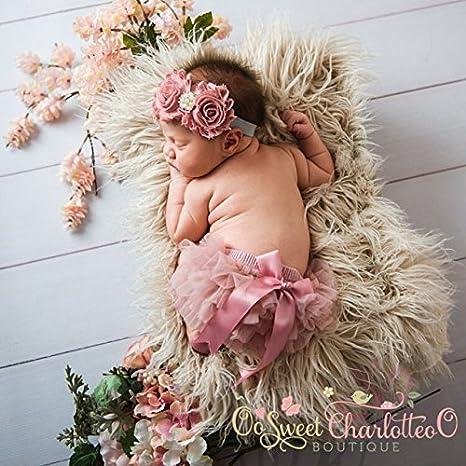 OoSweetCharlotteoO Baby Girl Chiffon Bloomer /& Headband Set Newborn Photo Prop