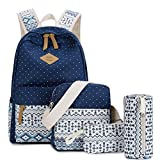 Lacira Set of 4 in 1 Combo Lightweight Canvas Laptop Bag in Backpack for College & School with Padded Strap (BPS008BLU) Blue