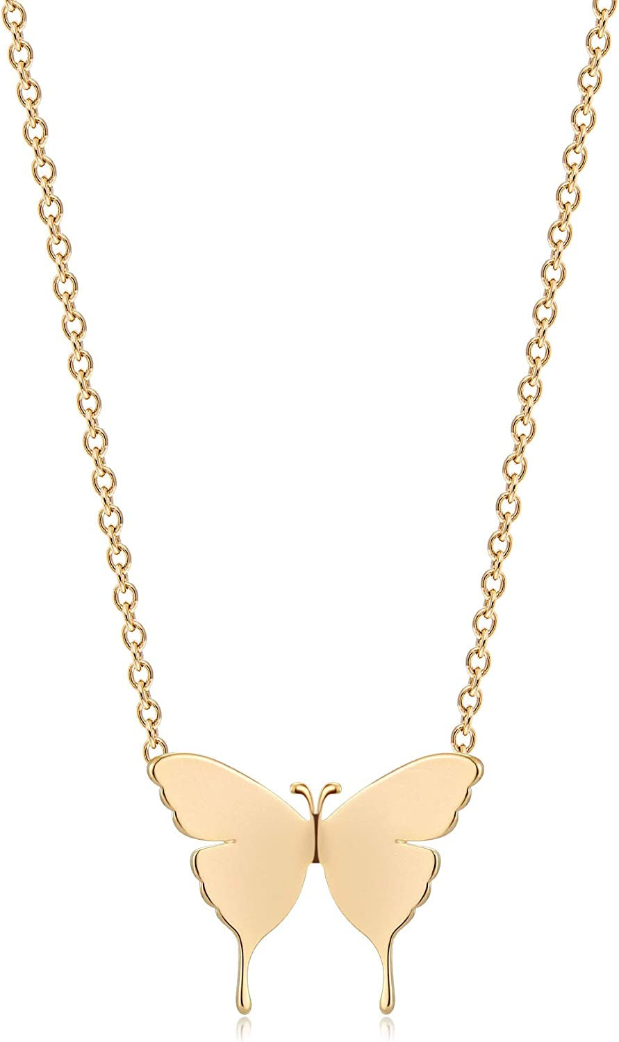Mevecco Gold Dainty Initial Necklace 18K Gold Plated Butterfly Pendant Name Necklaces Delicate Everyday Necklace for Women Minimalist Personalized Jewelry