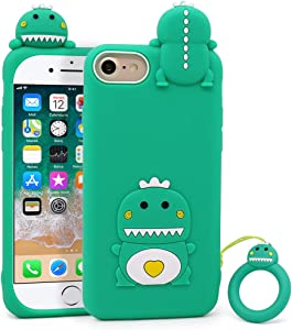 Megantree Cute iPhone SE 2020 case, iPhone 6 Case, iPhone 6s Case, iPhone 7 Case, iPhone 8 Case, Funny Animals Green Little Dinosaur Soft Silicone 3D Cartoon Shockproof Back Cover Case for Girls Boys