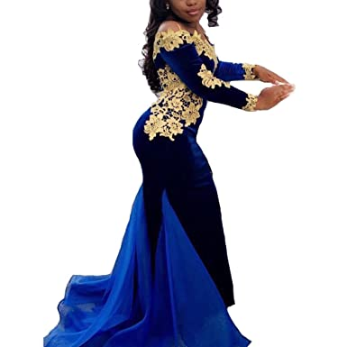 XPLE Sexy Mermaid Navy Blue Velvet Prom Dresses with Gold Lace Flower Applique Organza Designer Train