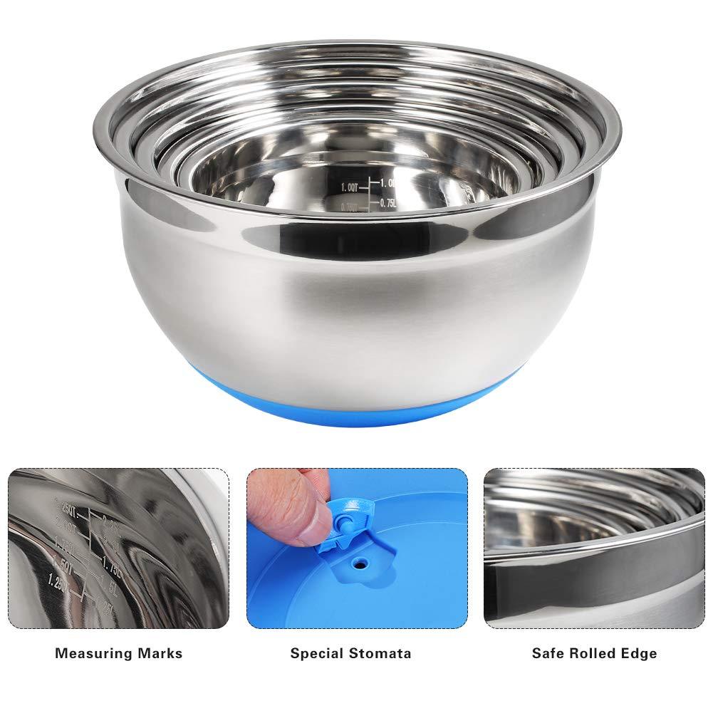 Juning Edelstahl Schüssel Set von 5 Packungen mit Kunststoff Blue Lip, Silikon Rutschfeste Basis, Messskala