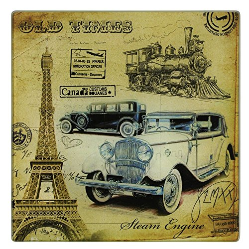 Grant Howard Nostalia Vintage Transportation Tempered Glass Cutting Carving Square Board 12 by 12 Inches ()