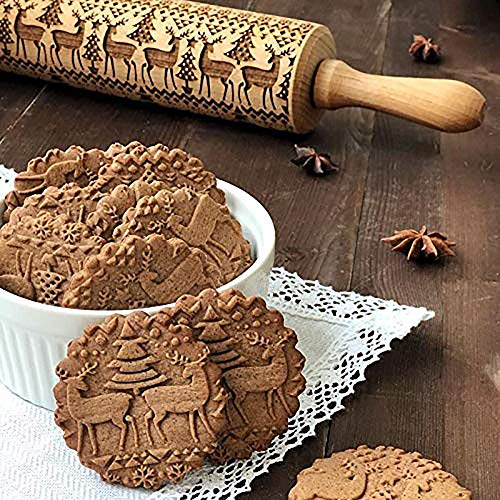 Tree Christmas Embossed - Christmas Wooden Rolling Pin, Engraved Embossing Rolling Pinwith Christmas Tree Deer Pattern for Baking Embossed Cookies