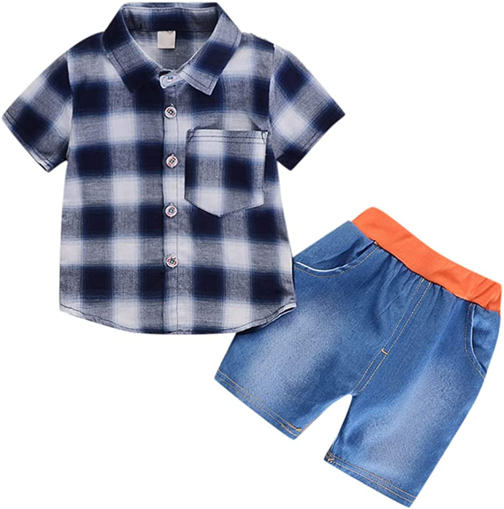 Mr.Macy Infant Girl Gentleman Plaid Shirt Print Denim Shorts 2PC Set Outfits