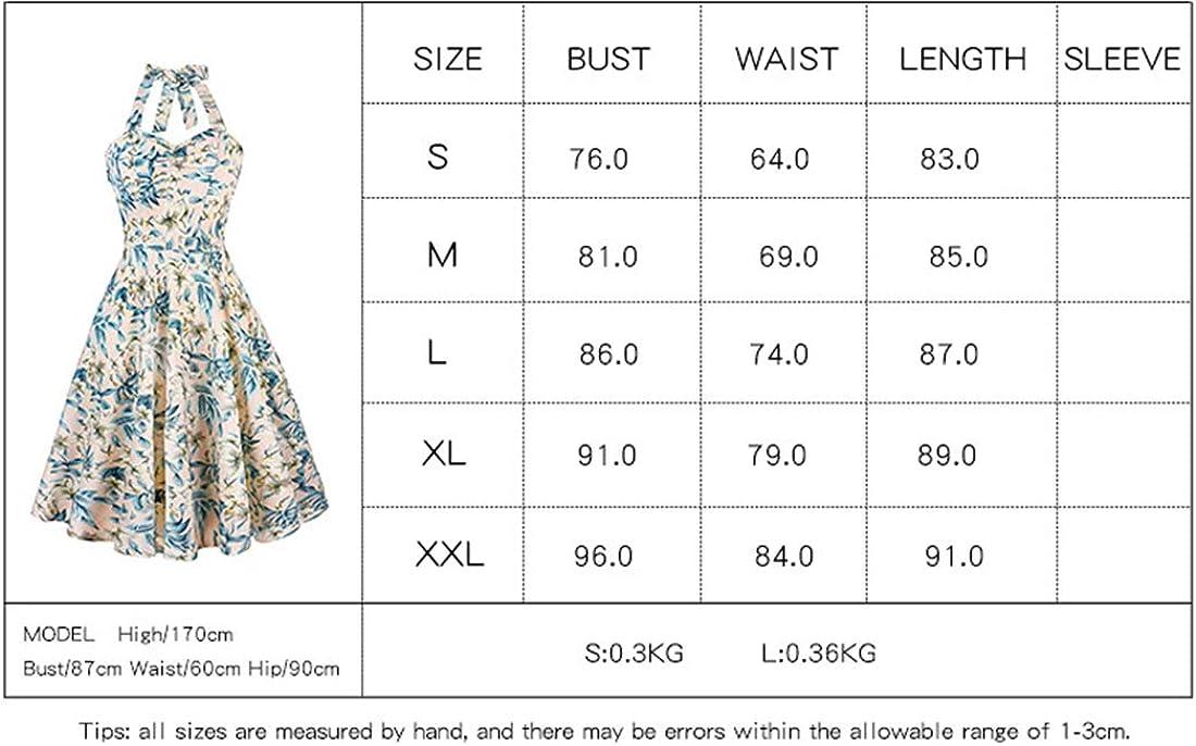 Uni-Wert Robes de Cocktail pour Femmes Floral Halter Swing Dos Nu 1950s Vintage R/étro Audrey Hepburn Rockabilly Robe de Soir/ée