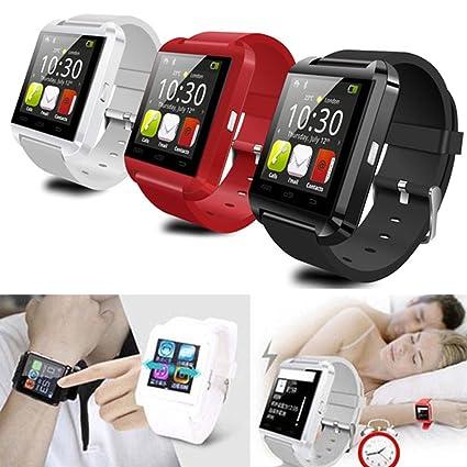 Behavetw Smartwatch, Reloj Inteligente Bluetooth U8 con Cronómetro SMS Call para iOS Android iPhone Samsung, Reloj de Pulsera, Azul Oscuro: Amazon.es: ...