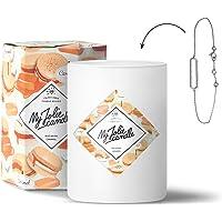 MY JOLIE CANDLE • Bougie Parfumée avec Bijou Surprise à l'Intérieur • Cadeau : Bracelet • Parfum Macaron Caramel • Cire Naturelle 100% Végétale