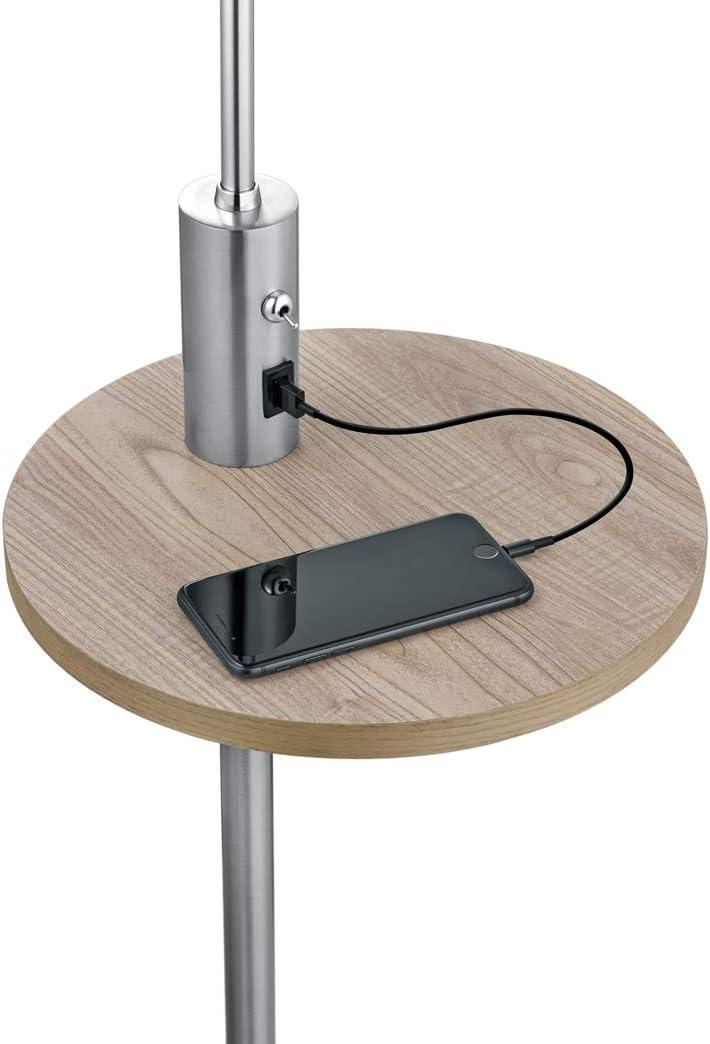LED Stehleuchte Silber Nickel matt mit grauem Stoffschirm - inklusive integriertem Ablagetisch & USB Anschluss mit Ladefunktion Stehleuchte Silber Matt