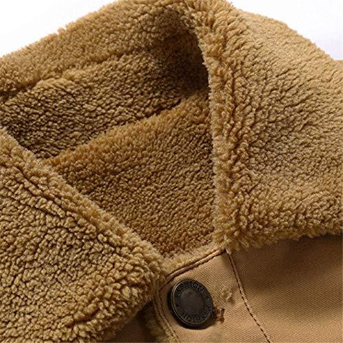 Hiver Poche Thermique Automne Top Chaud Coat Kaki Homme Veste Masculine Mode Bouton Occasionnels Blouson xpnX5