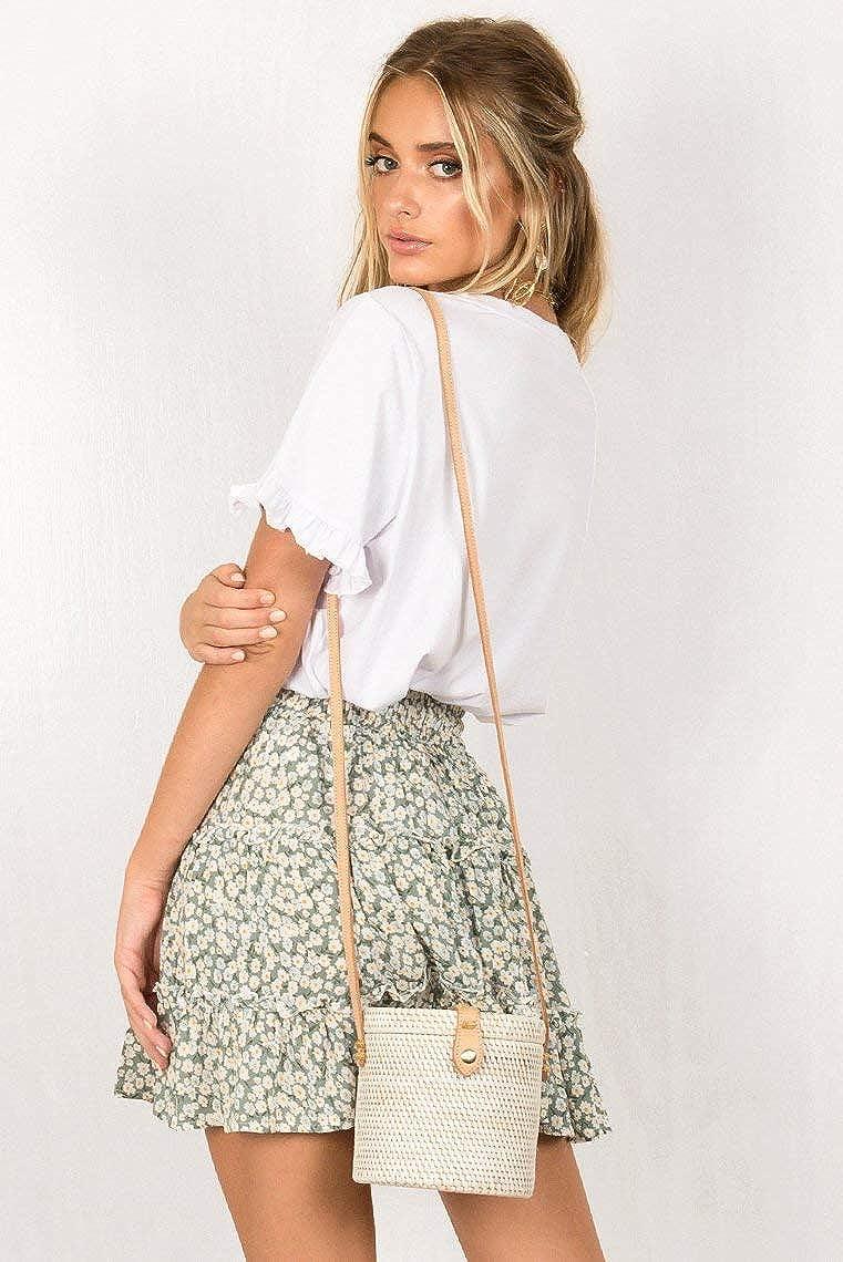 Alelly Womens Summer Cute High Waist Ruffle Skirt Floral Print Swing Beach Mini Skirt