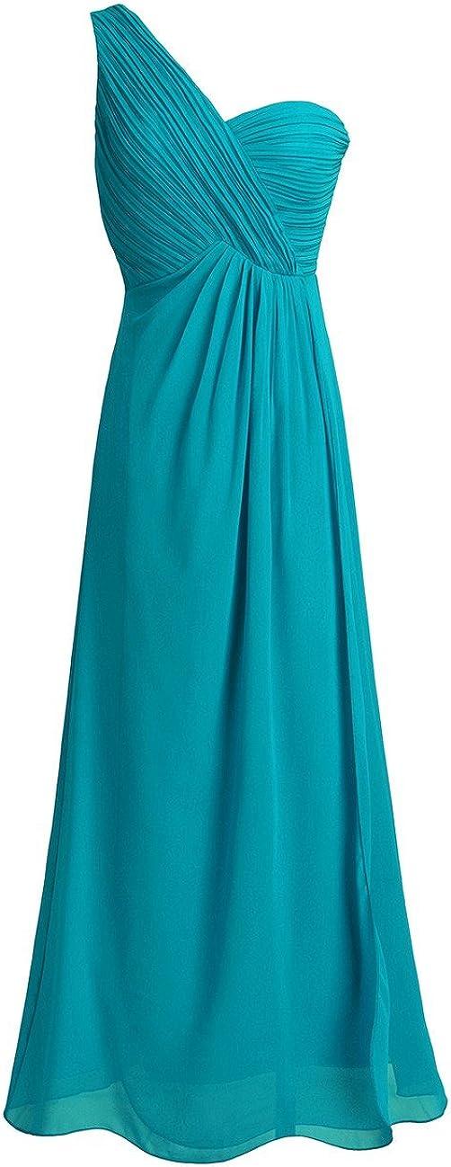 TiaoBug Women's Chiffon One-Shoulder Split Slit Bridesmaid Dress Evening Gowns