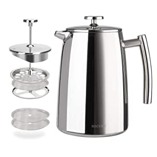 Secura French Press Coffee Maker, 34-Ounce, 18/10 Stainless Steel Insulated Coffee Press with Extra Screen