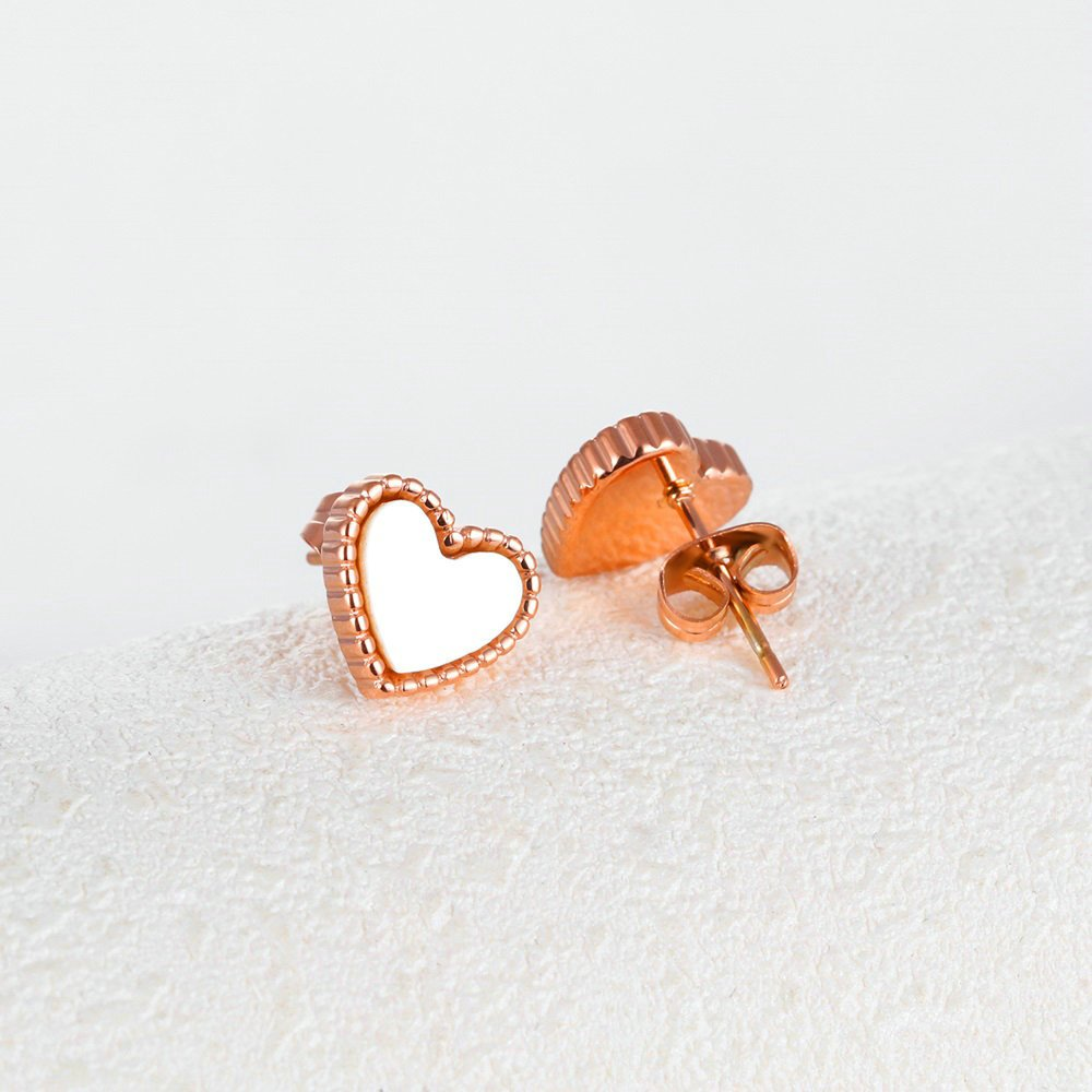 Onefeart Rose Gold Plated Stud Earrings for Women Girls 9MM Three Colors Princess Style Sweet Love Heart