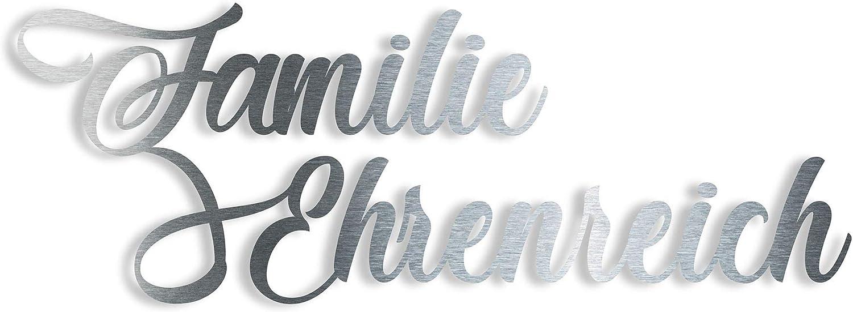 Design 4 40cm x 30cm Hausnummernschild aus Edelstahl mit Wunschschriftzug//Namen//Schriftzug Thorwa Design Hausnummer mit Stra/ßenname oder Familienname//Namensschriftzug
