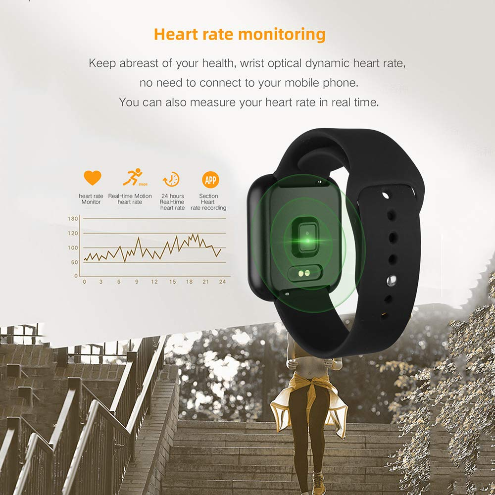 Byoung Activity Tracker for Girls, Fitness Watch IP68 Waterproof Smart Pedometer Watch with All Day Heart Rate Monitor/Blood Pressure, 2019 Upgrade Full Touch Screen Smart Wristwatch Bracelet, Black by Byoung (Image #6)