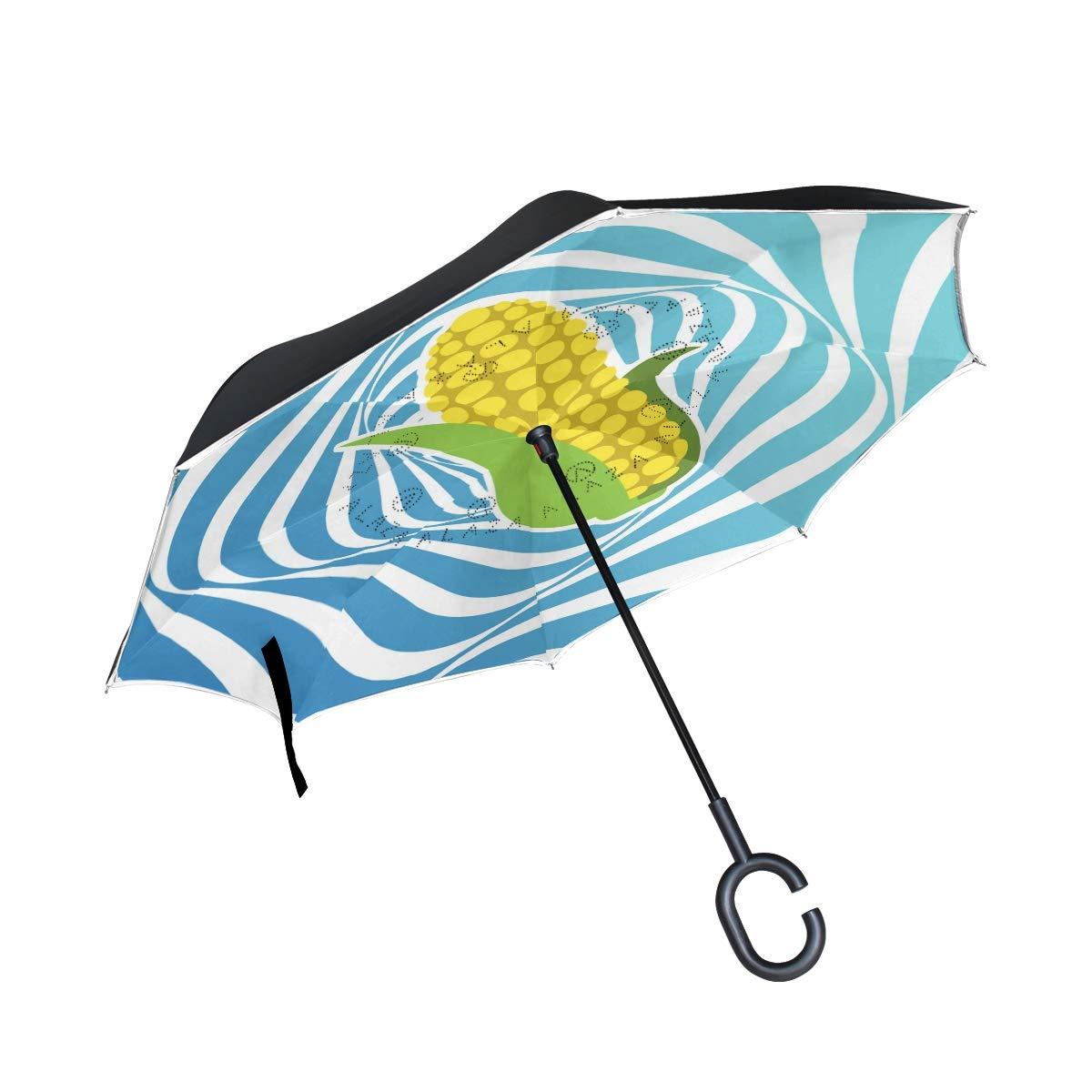 DKRetro Double Layer Fun Corn Inverted Umbrellas- Reverse Folding Umbrella for Car, C-Shaped Handle Umbrella with Light Reflection Strip