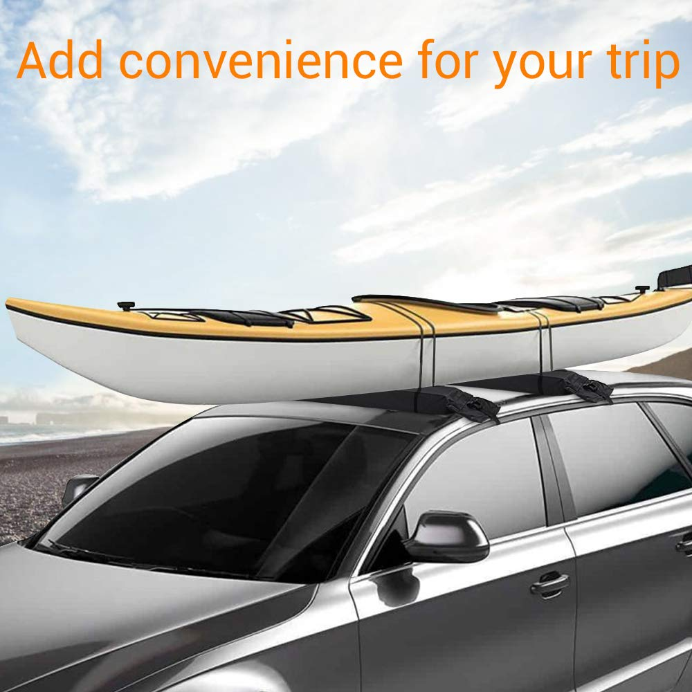 SS VISION 2Pcs Roof Rack Pads Universal Car Soft Roof Top Rack Pads for Canoe Kayak Paddleboard Surfboard Snowboard with Tie Down Straps and Storage Bag