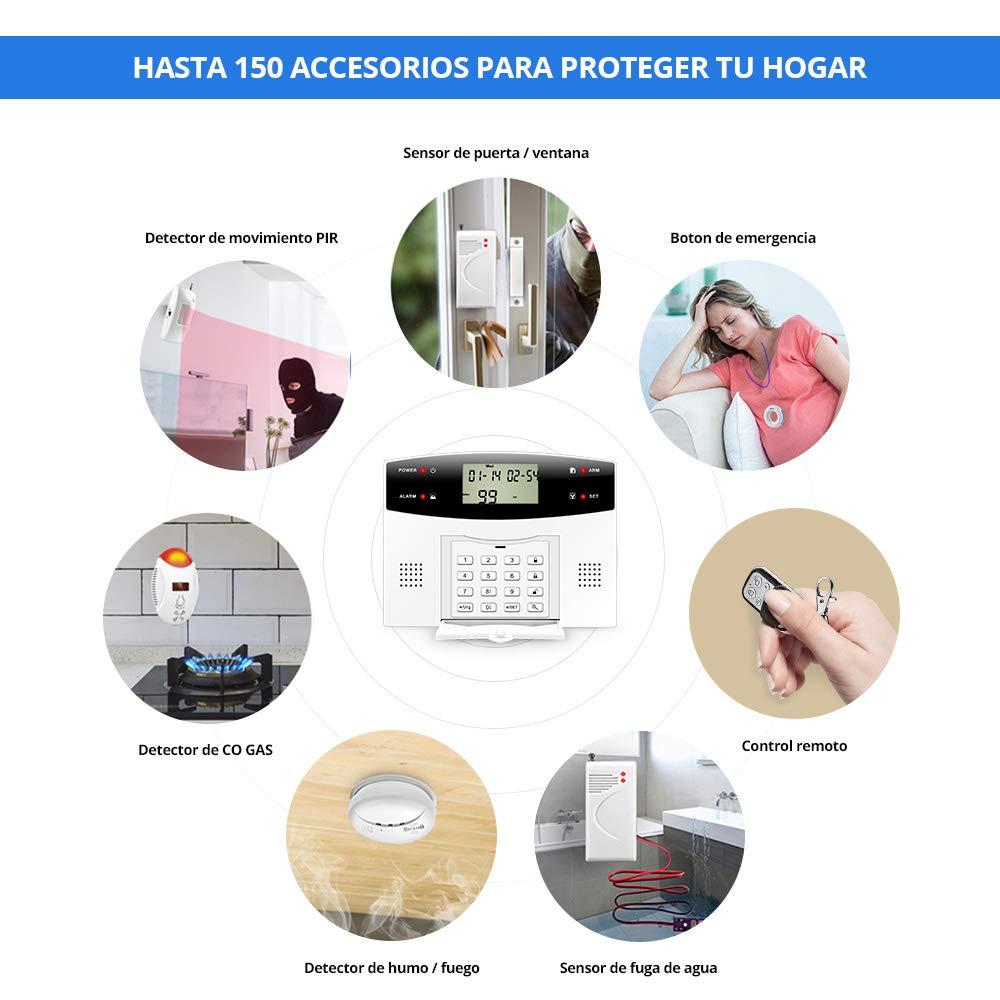 KERUI G2 PSTN/gsm Sistema de Alarma para el Hogar Control de Marcado Automático por SMS/Llamada, Monitoreo Remoto,Kit de Alarma Antirrobo Inalámbrica DIY ...