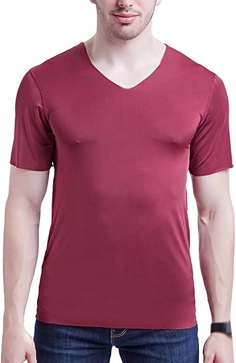 Runyue Camiseta Básica Para Hombre Ajustado Camisa Elástica Color Puro Manga Corta Con Cuello V Deportes Tops Vino Rojo 3XL: Amazon.es: Deportes y aire libre