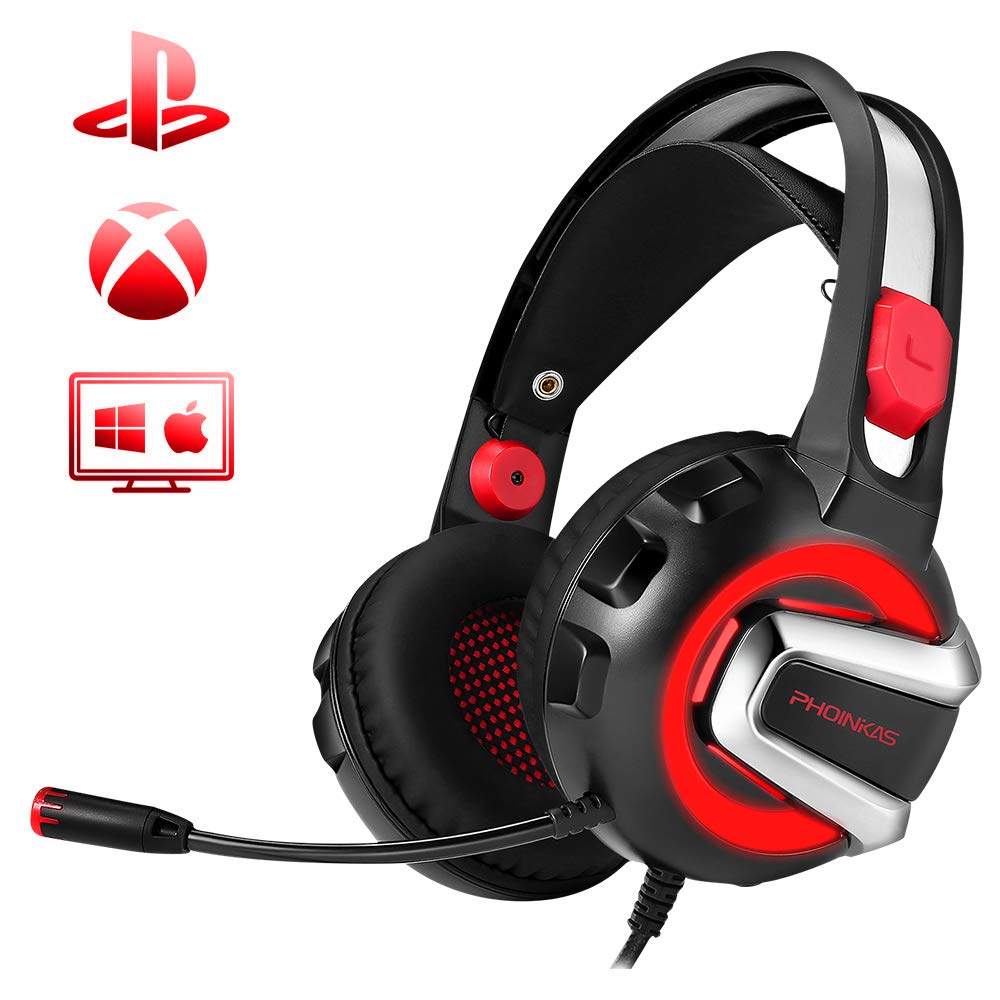PHOINIKAS H4 Stereo Gaming Headset for PC, PS4, Laptop, Xbox One, Nintendo Switch Games,with Mic,LED Light Splitter,Free Adapter,Volume Control Headphones to 3.5mm,Soft Memory Earmuffs (Red) by PHOINIKAS