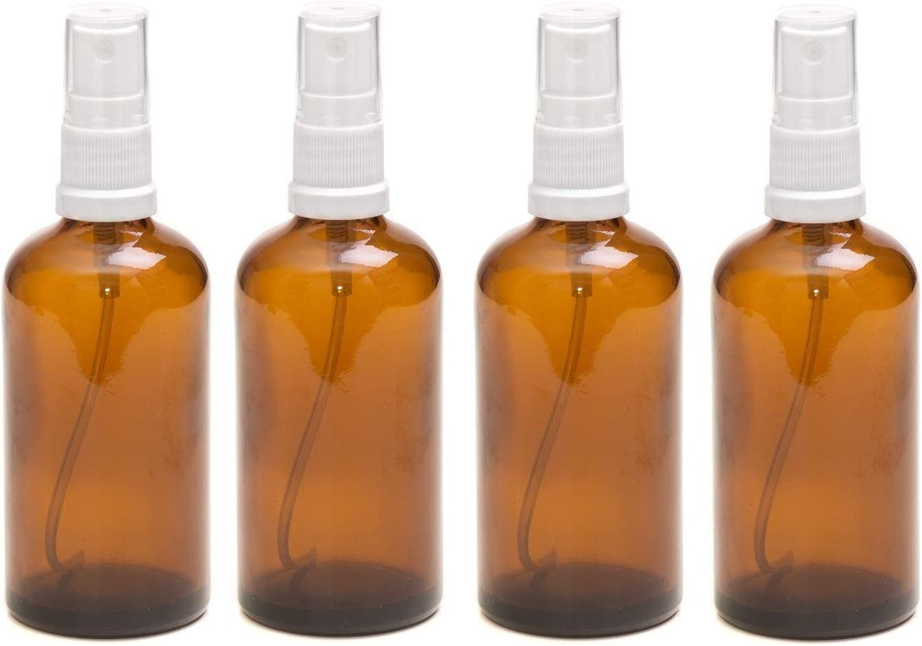 PACK of 4 - 100ml AMBER Glass Bottles with White ATOMISER Sprays. Essential Oil / Aromatherapy Use