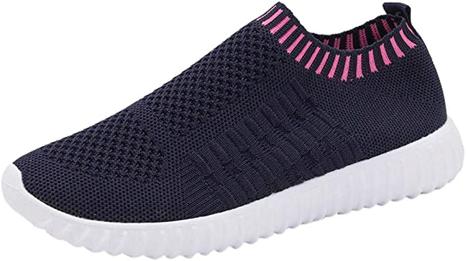 Hosamtel Sneakers for Women Wide Width Canvas Shoes Slip On Sneakers Classic Sport Comfortable Casual Shoes Flats