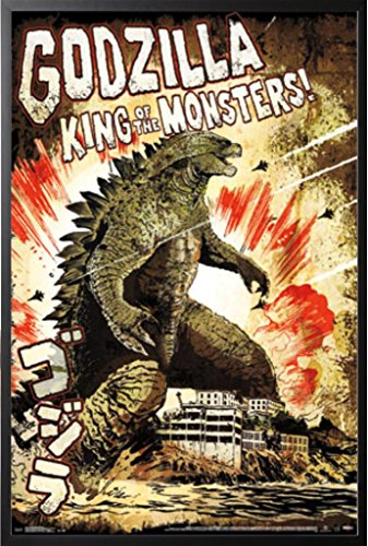 (Framed Godzilla - King Of The Monsters 24x36 Dry Mounted Poster Wood Framed Art Print Movie )