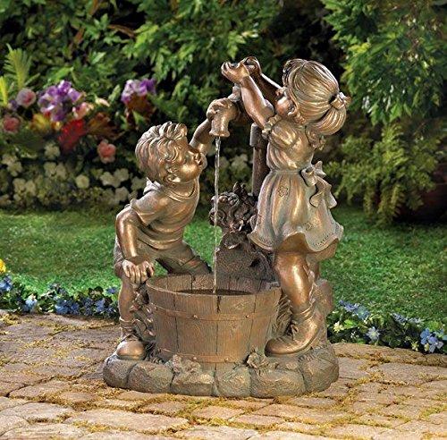 Garden Relaxation Fountain Children Statues Outdoor Decorative Sculptures Water Pump Feng Sui Mainstays Ornament