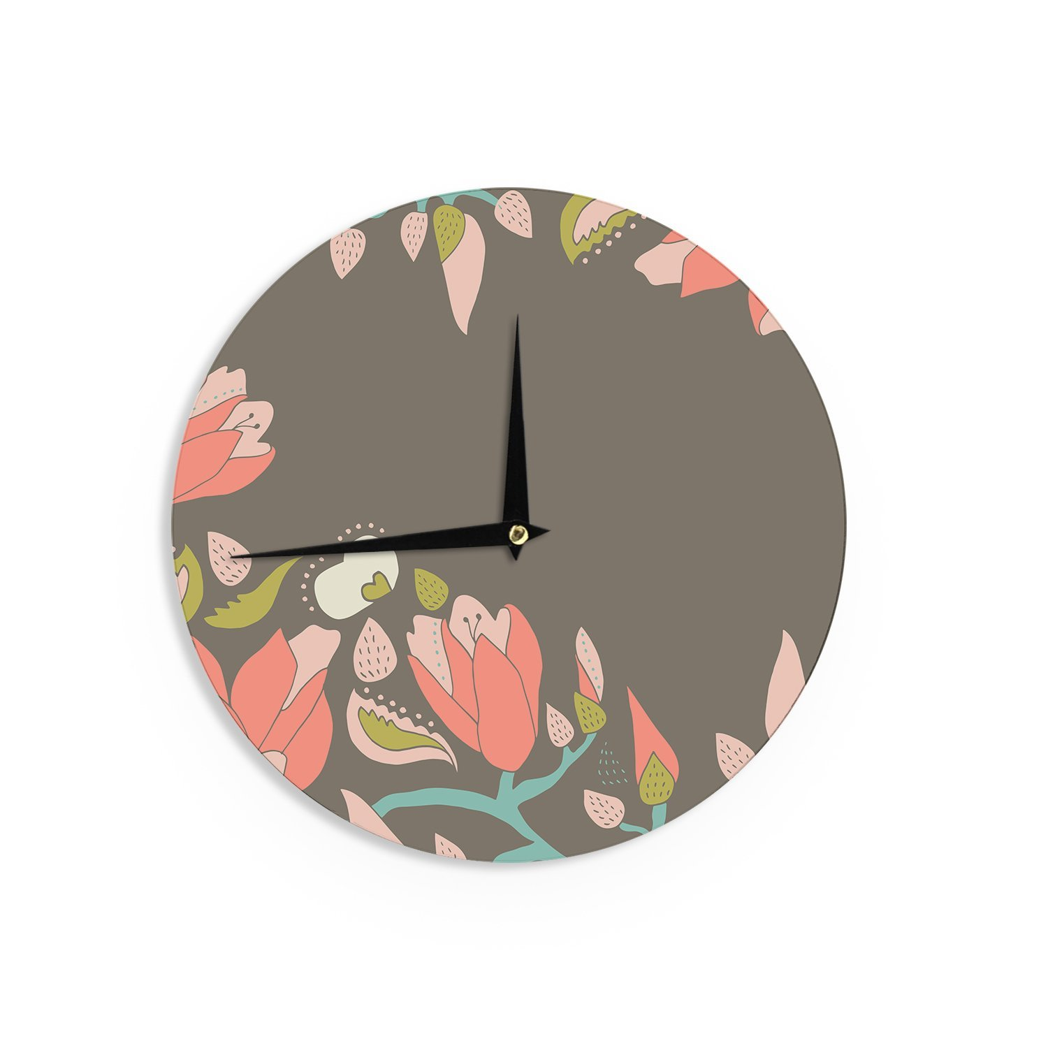 Kess InHouse Very Sarie Penelope I Brown Coral Wall Clock 12 12 VS2005ACL01