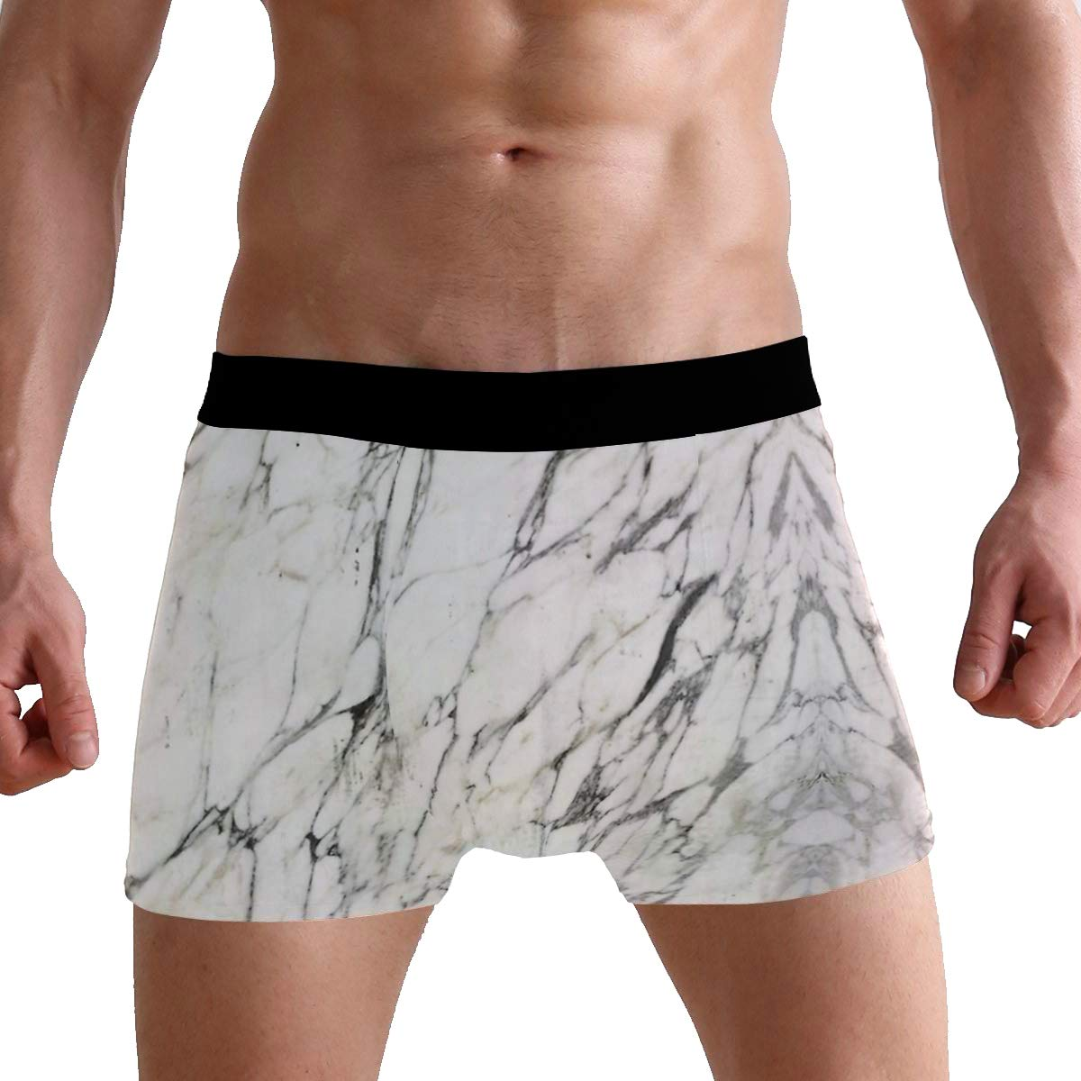 White Marble Art Ultimate Soft Sports-Inspired Microfiber Stretch Boxer Briefs,Breathable Fast Drying Action Boxer Briefs Mens Underwear