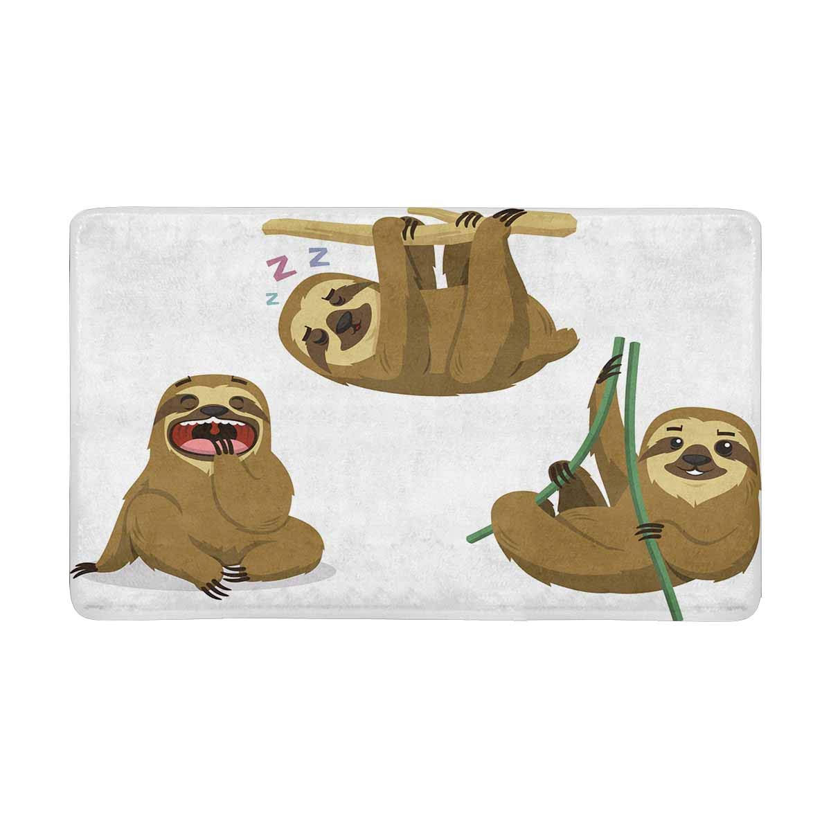 InterestPrint Sloth Rain Forest Two Toed Lazy Mammal Hanging Sloths Anti-Slip Door Mat Home Decor Indoor Entrance Doormat Rubber Backing 30 X 18 Inches