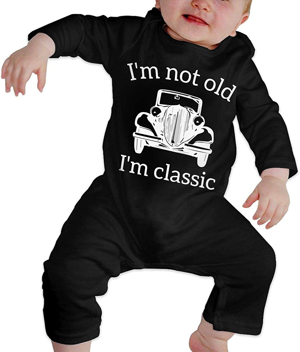 Im Not Old Im Classic Printed Baby Boys Girls One-Piece Suit Long Sleeve Outfits Black