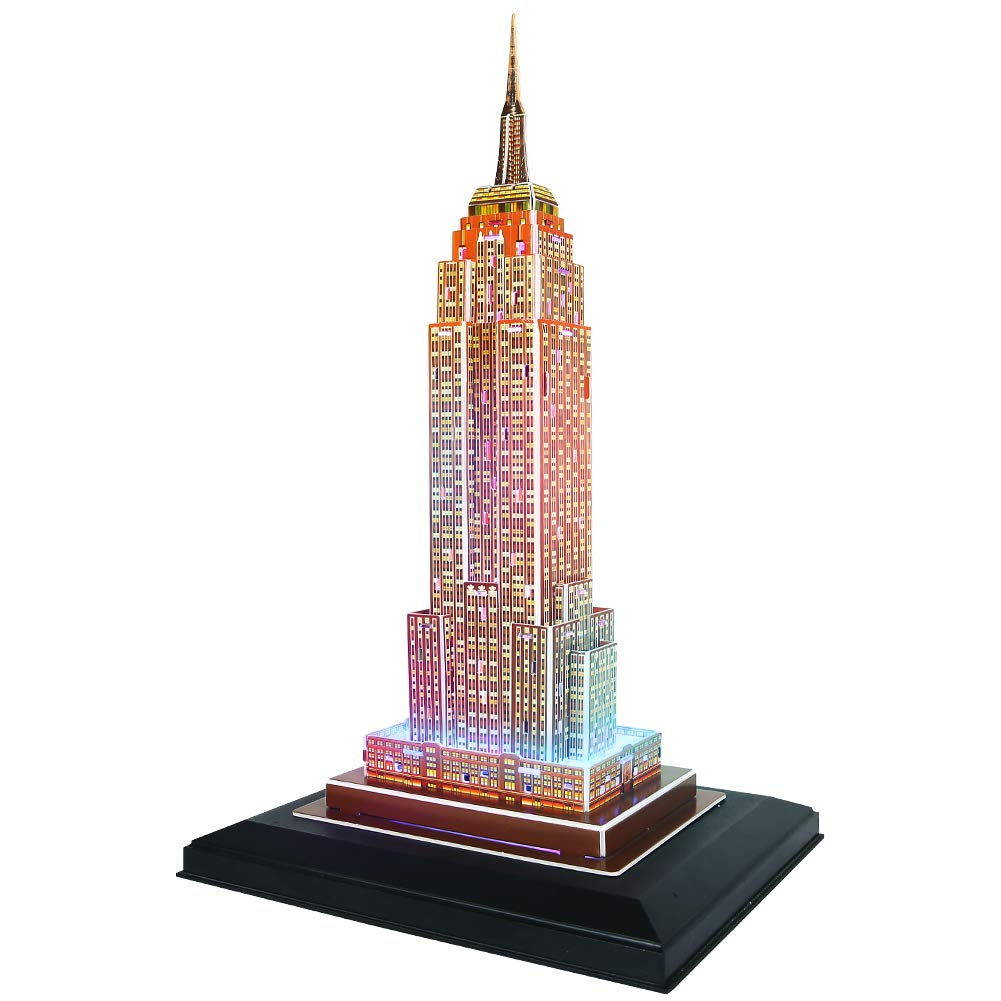 CubicFun 3D Newyork Puzzles LED Cityline Building Craft Model Kits Toys for Adults, Empire State Building Lighting Up in Night