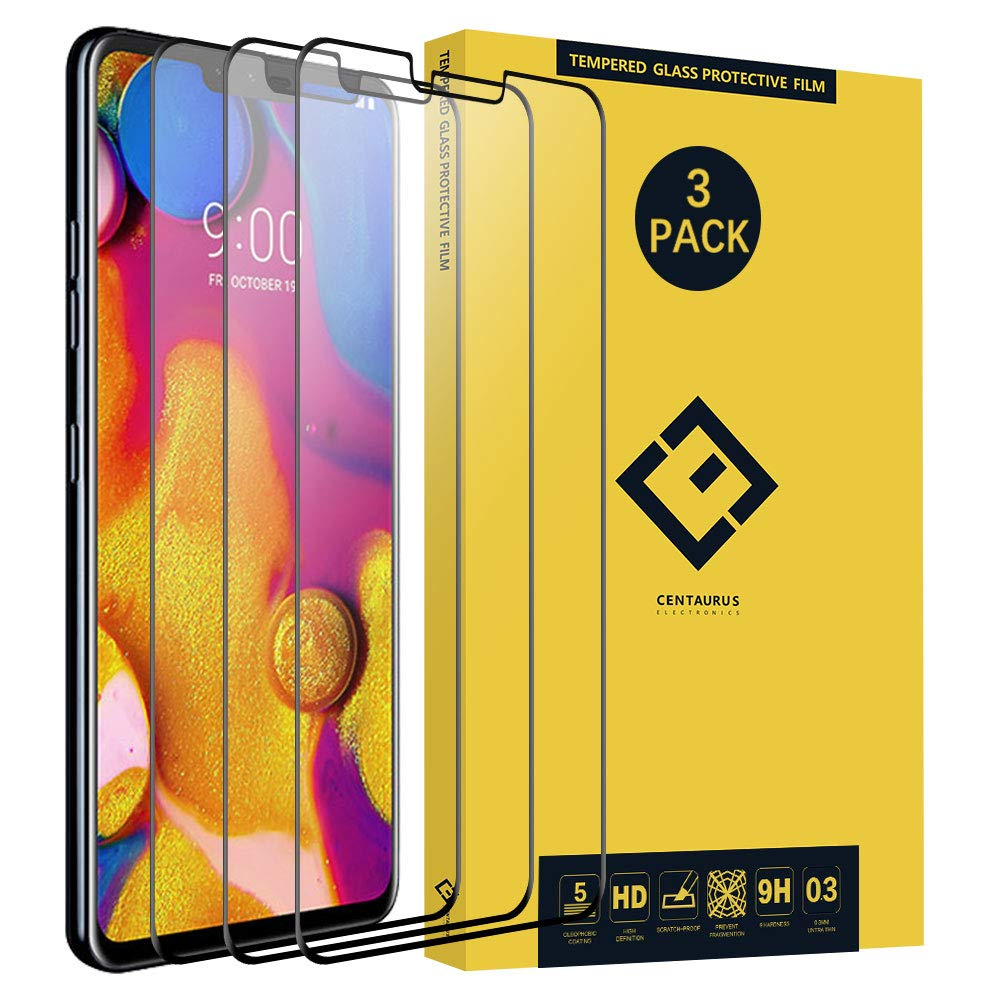 CENTAURUS Replacement for LG V40 ThinQ Glass Screen Protector-(3 Pack) Case Friendly Anti-Scratch HD H9 Hardness Full Coverage Silk Print Black Tempered Protective Film for LG V40 ThinQ 6.4 inch