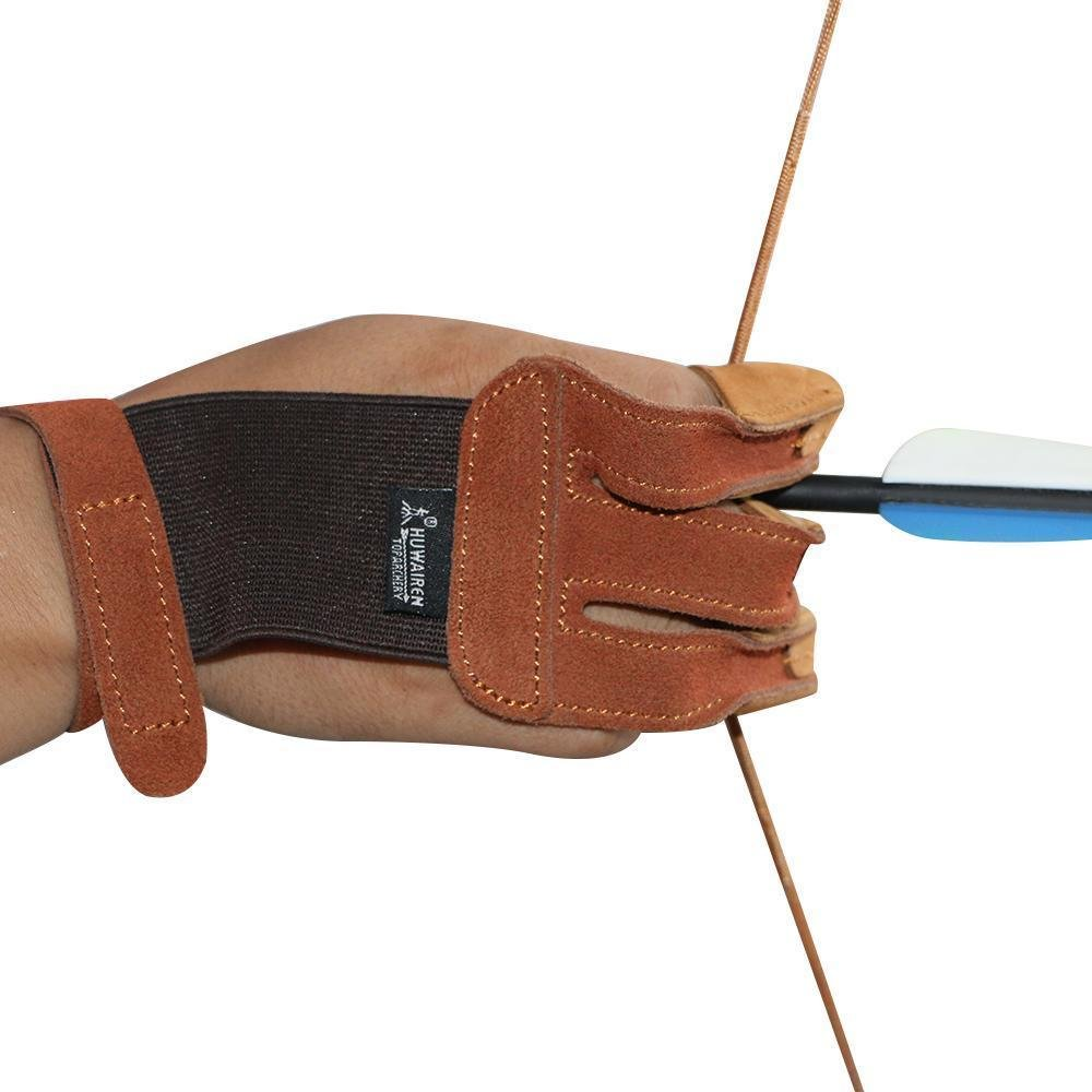 Toparchery Finger Hand Protective Gloves Leather Target Arm Guard 3 Finger Tab for Hunting Compound Recurve Bow by Toparchery (Image #6)