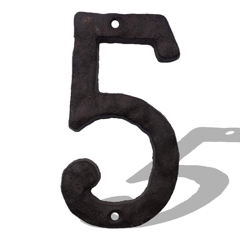 massiv und robust 15,2 cm Hausnummern aus Gusseisen einfache Installation mit passenden Schrauben rustikale Adress-Nummer