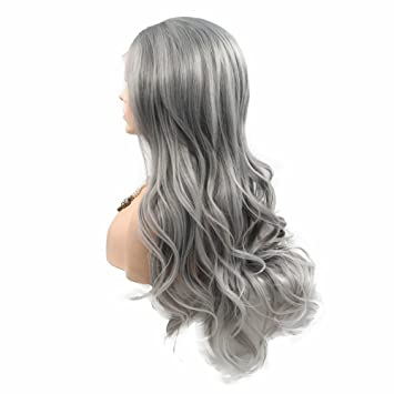 Amazon Com Flawless Hairline Middle Part Ash Grey Long Hair With