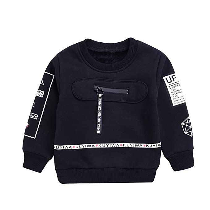 1952509c Crewneck Sweatshirt Toddler Baby Boys Cotton Pullover Shirt with Fleece for  1-5T Kids (