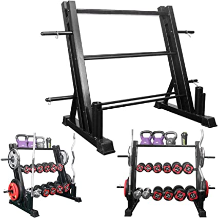 Weights Storage Rack for Dumbbells Kettlebells Weight Plates Rack Home Gym