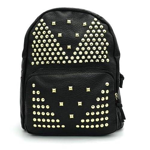 dca1de88d9 zaino uomo donna eco pelle zainetto borsa backpack borchie oro nero ...