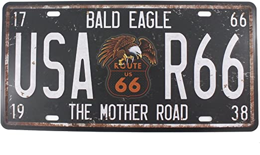 USA Route 66 With Eagle Metal License Plate