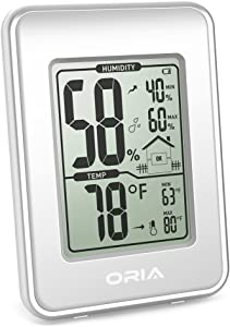 ORIA Digital Hygrometer Thermometer, Indoor Thermometer Humidity Monitor, Temperature Humidity Gauge Meter, with LCD Screen, Min and Max Records, for Home, Office, Room, White