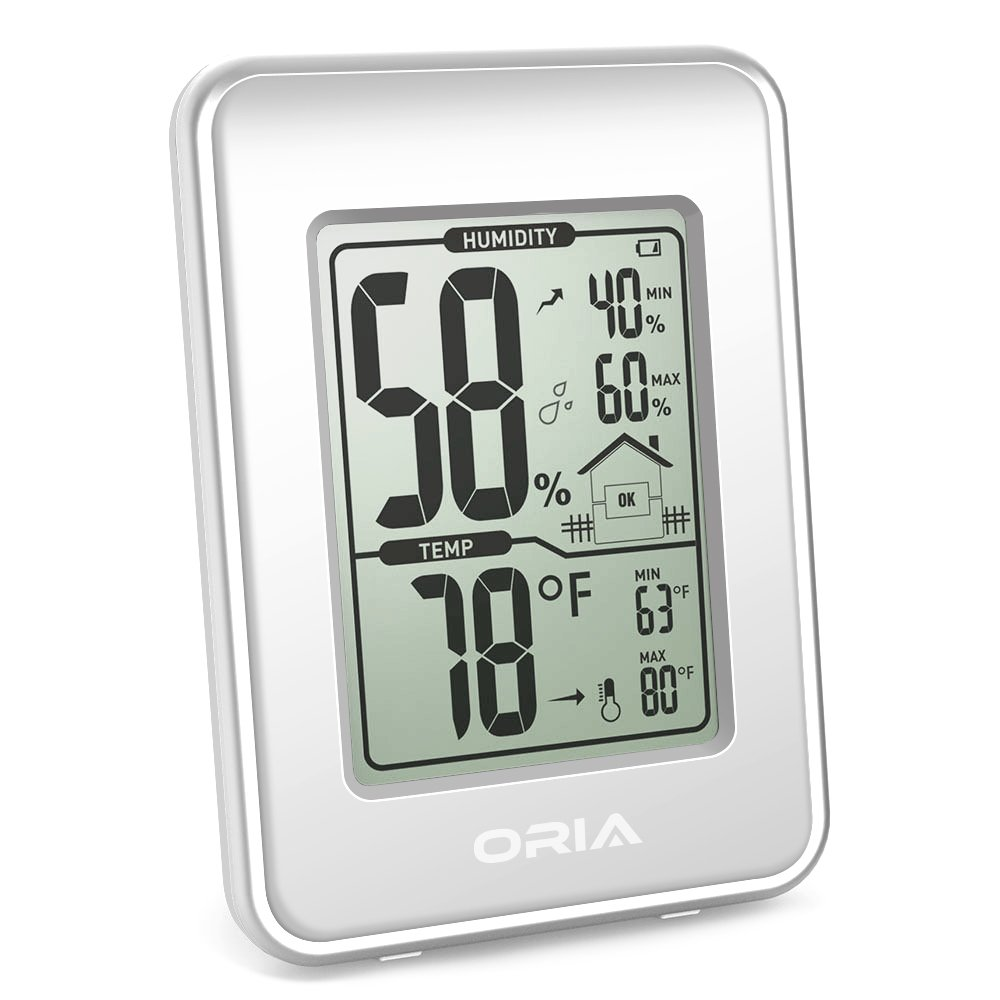 ORIA Digital Hygrometer Thermometer, Hygrothermograph, Indoor Thermometer Humidity Monitor, Temperature Humidity Gauge Meter, with LCD Screen, MIN/MAX Records, ℃/℉ Switch, for Home, Office (White)