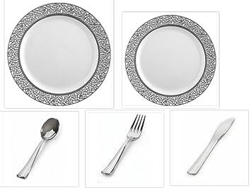 100 Stück Premium Kunststoff China Teller Besteck Combo für 20 Gäste ...