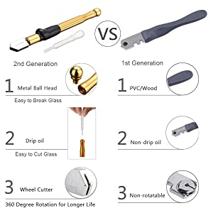 Bloomoak Professional Carbide Tungsten Alloy Handle Glass Cutter Tool with Range 2-19mm Self-Oiling Professional Cutter for Thick Glass Mosaic and Tiles - Pencil Shape & Design (Glass Cutter) (Color: Glass Cutter, Tamaño: Large)